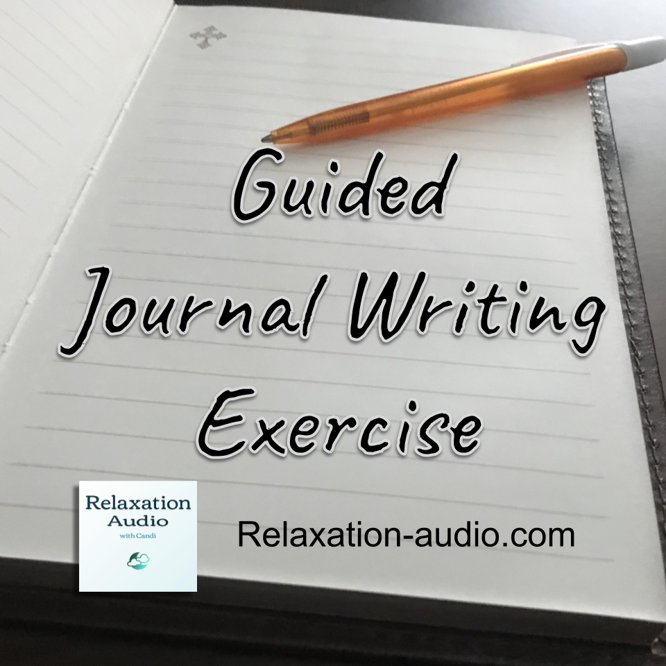 guided journal writing exercise. A blank journal page and a pen.