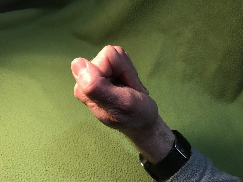 flat fist with fingertips touching bottom of palm just above wrist