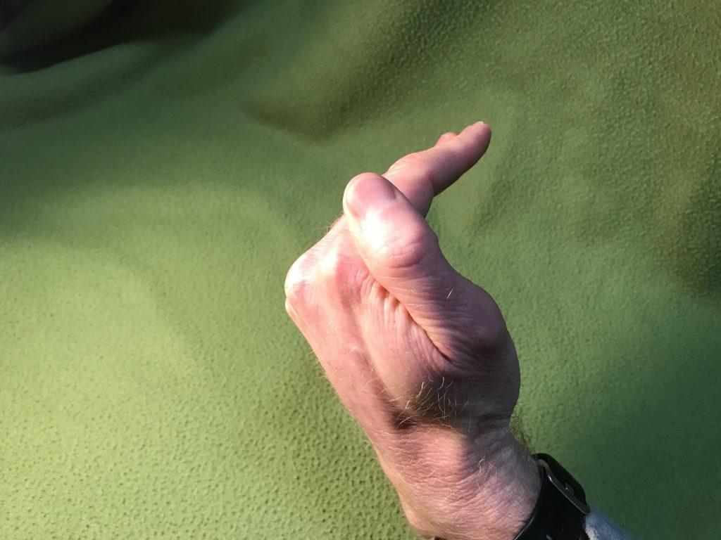 table top shape hand held like an L or duck beak