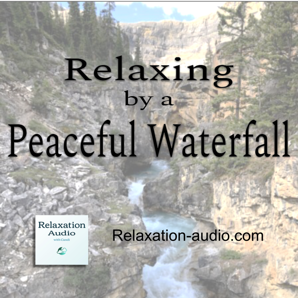 relaxing by a peaceful waterfall